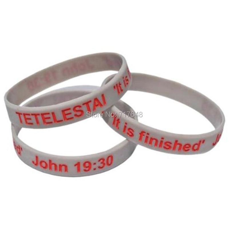 100 pcs tetelestai 그것이 존 완료 19:30 팔찌 실리콘 팔찌 fedex로 송료 무료-에서커프 팔찌부터 쥬얼리 및 액세서리 의  그룹 1