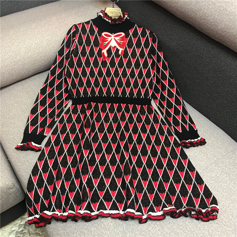 Winter Mini Runway Designer Vintage Plaid Vestidos Clothing Christmas Women Dress 2018 Bowknot Ruffles Tunic Party dqxXwv