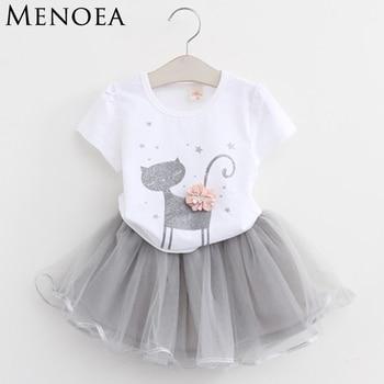 Girls 2019 Summer New Baby Girls Clothing Sets Fashion Style Cartoon Kitten Printed T-Shirts+Net Veil Dress 2Pcs Girls Clothes 1