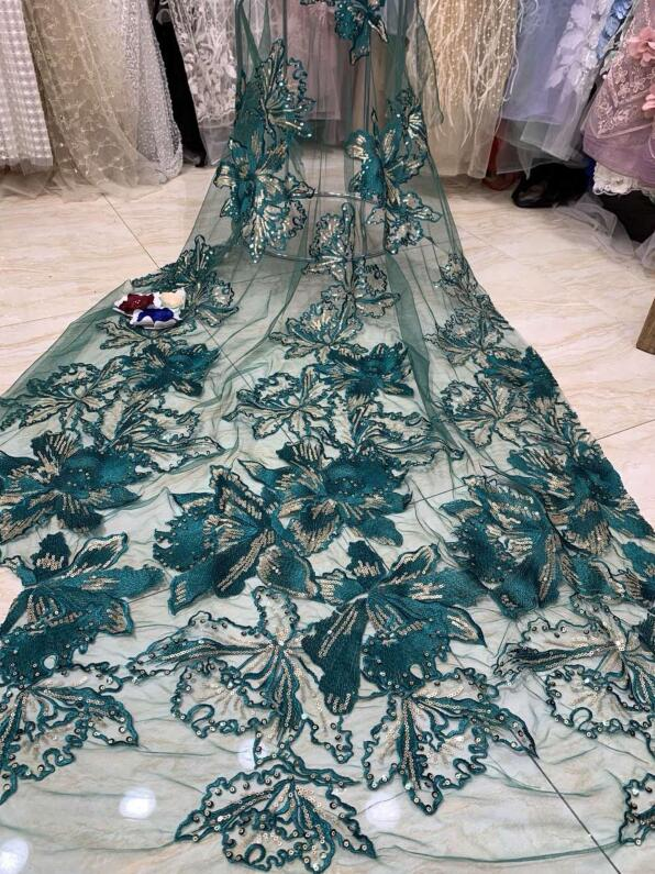 Nigerian french lace fabric with sequins JIANXI C 22518 Embroidered lace fabric for party dress