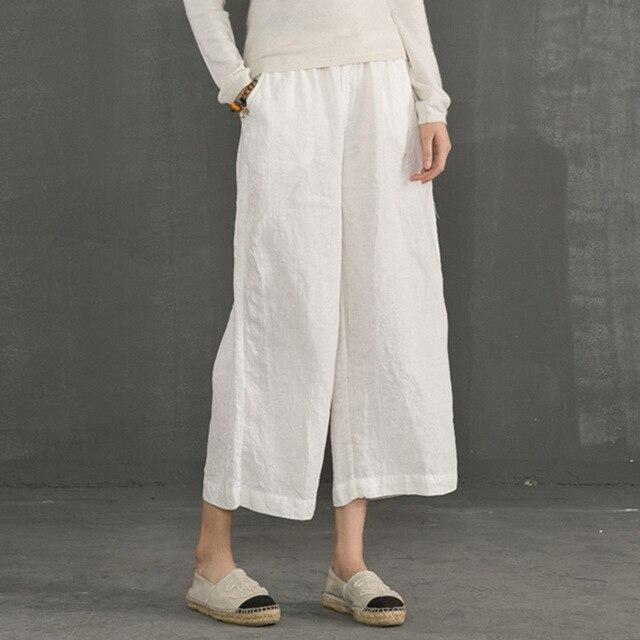 c949957daf7 2018 Autumn Soft Cotton Linen Pants High Waist Wide Leg Trousers Women  Elastic Waist Ankle Length Summer Loose Trouser Plus Size-in Pants   Capris  from ...