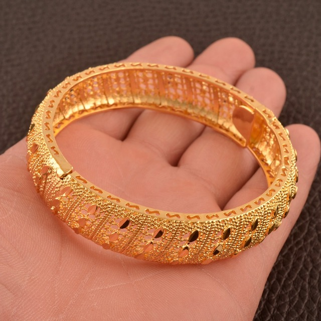 Anniyo 24K Dubai Bangles Jewellery Ethiopian Bracelets for Women African Wedding Jewelry Party Gifts (ONE PIECE) #110506 1