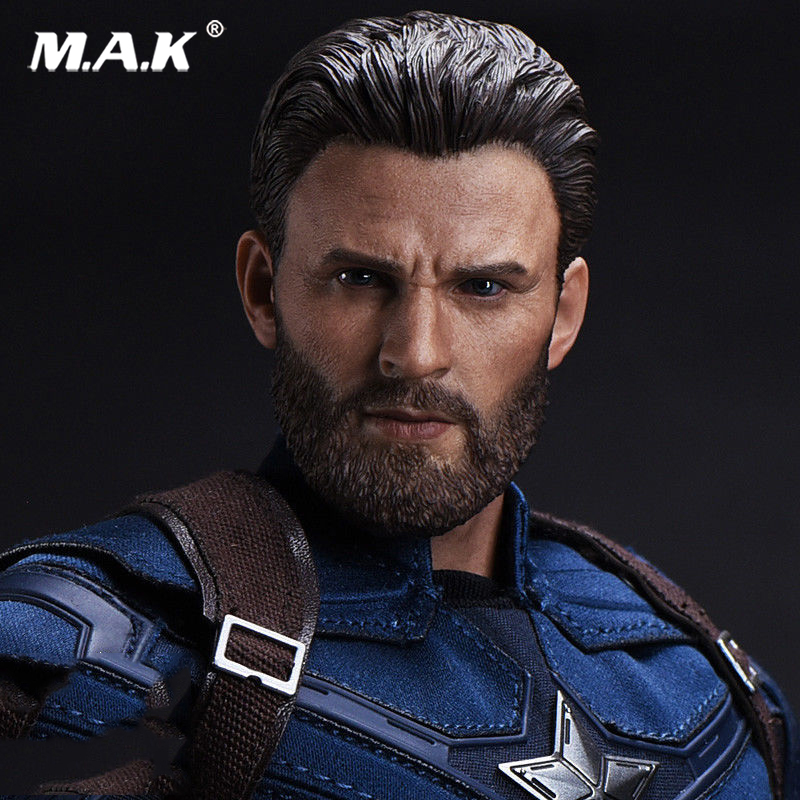 1/6 Scale Captain America Head Carved Beard Ver. Chris Evans Head Sculpt Head Carving Model Collectible Doll Toys Accessories die shi spot burning the soul of a model burns 1 6 head carved figures are base contains mask