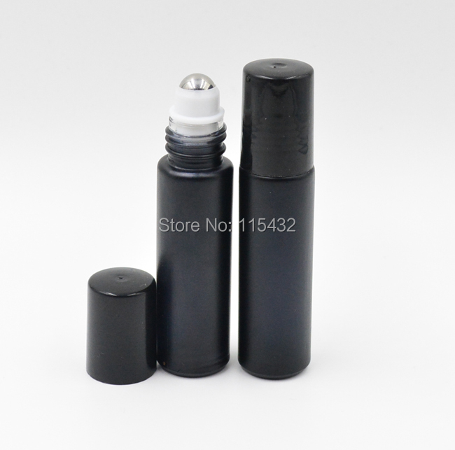 Factory Price 100PCSLOT 10ml  Black Fragrances ROLL ON GLASS BOTTLE ESSENTIAL OIL Metal Roller Ball BY DHLEMS Free Shipping