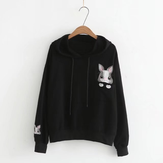 Kawaii Mode Anime Longues Sweat Femmes Streetwear Moletons Manches Capuche Navy Lapin Jumper noir À blanc Impression Pull De rdCWQxBoe
