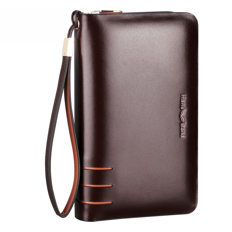 New Brand Split Leather Men s Clutch Bags Business Handbags Double Zipper Large Capacity Phone Wallet