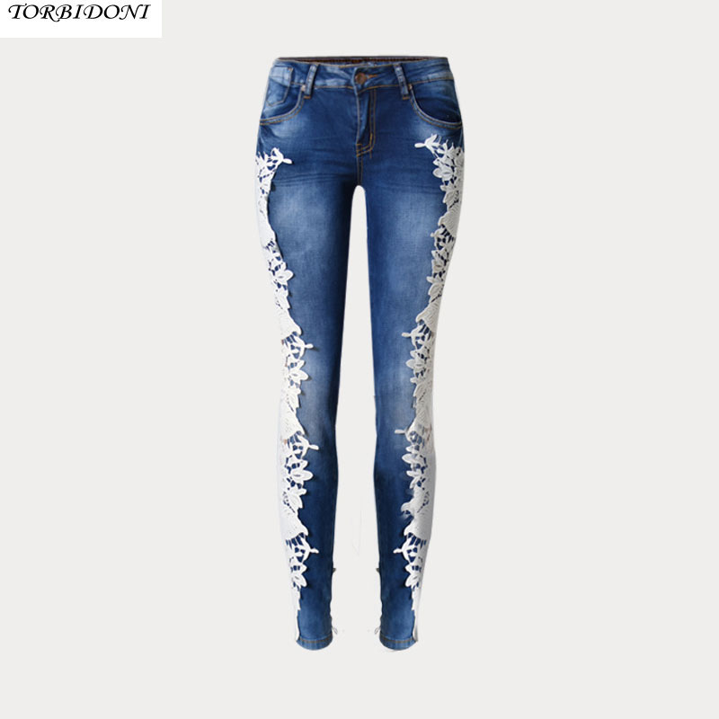 Lace Spliced Hole Jeans New Woms