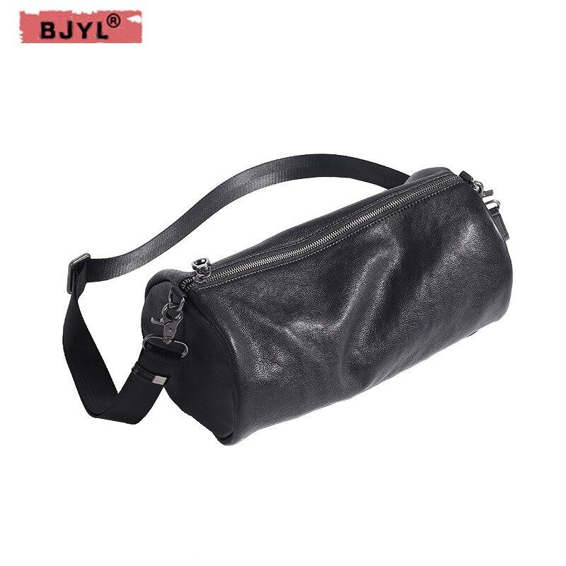 0c1cd5cd09ef BJYL оригинальный натуральная кожа мужская сумка цилиндр плечо диагональ  crossbody раздел мужские ретро первый слой коровьей