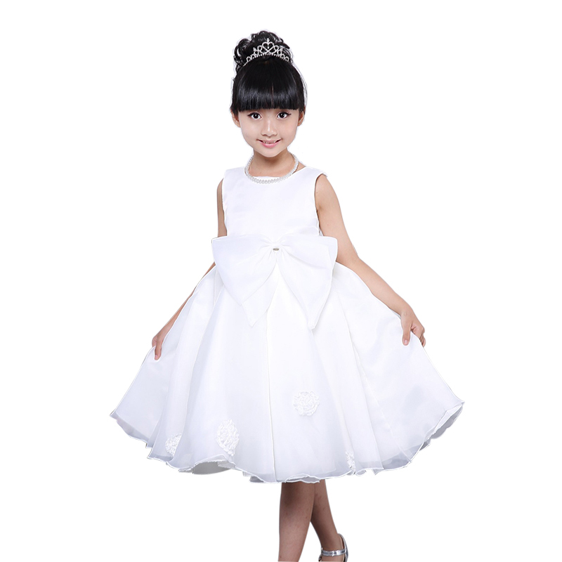 ФОТО 2016 Summer Style Kids Dress For Girls Flower White Princess Party Costume Girl Floral Dress Kids Clothes Vestido Meninas CL016