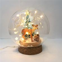 DLY Fairy Colorful Lamps Christmas Elk Deer Chinchilla Lights Children Study Bedroom Desk Light Gift Lamp for a Holiday New Year(China)