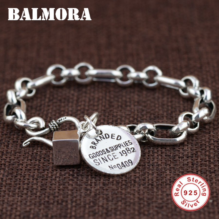 Balmora Genuine 925 Sterling Silver Branded Bracelets For Women Men Gift Fashion Bracelet Jewelry About 17 5cm Esposas Sz0434 In Charm From