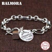 BALMORA Genuine 925 Sterling Silver Branded Bracelets for Women Men Gift Fashion Bracelet Jewelry about 17.5cm Esposas SZ0434
