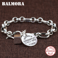 BALMORA Genuine 925 Sterling Silver Branded Bracelets for Women Men Gift Fashion Bracelet Jewelry about 17.5cm Esposas SZ0434