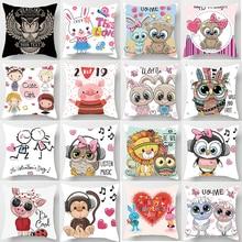 Hot sale cute  girls cartoon double-sized pattern pillow cases square Pillow case cute cartoon rabbit pillow covers size 45*45cm hot sale beauty flower cats pillow cases square pillow case cute cartoon rabbit pillow covers size 45 45cm