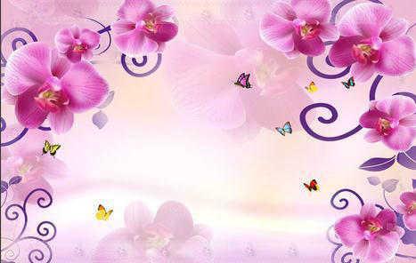 Wallpaper Fashion Purple Floral 3D Mural Wall Paper Papel De Parede Stickers Wallpaper20151044 Co In Wallpapers From Home