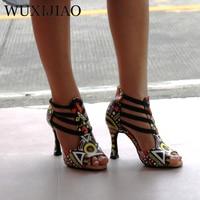 WUXIJIAO New Featured print Dance Shoes For Women Latin Salsa Dance Boots Paty Ballroom Dance Shoes Women Shoes 9CM