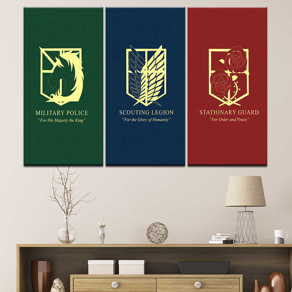 Canvas Painting Scouting Legion And Attack On Titan 3 Pieces Wall Art Painting Modular Wallpapers Poster Print Home Decor Painting Calligraphy Aliexpress