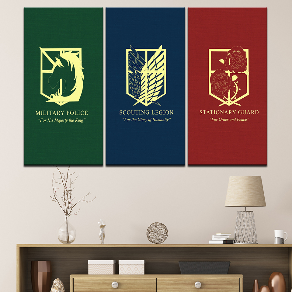 Us 94 43 Offcanvas Painting Scouting Legion And Attack On Titan 3 Pieces Wall Art Painting Modular Wallpapers Poster Print Home Decor In Painting