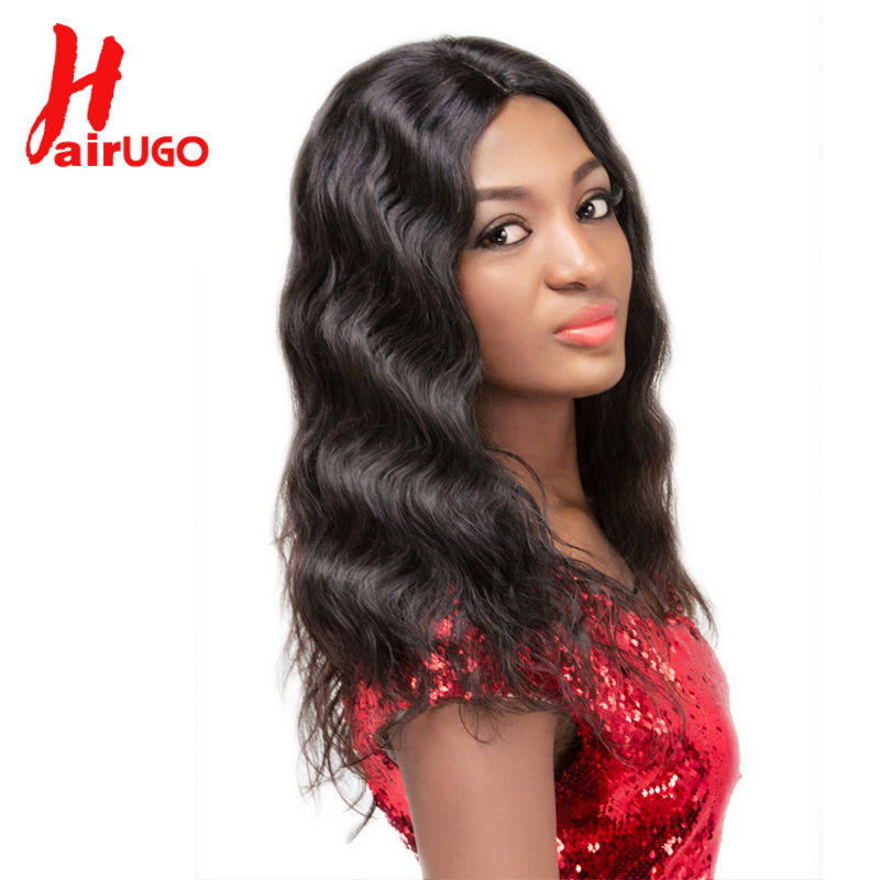 HairUGo Pre-Colored Brazilian Body Wave 4*4 Lace Closure Short Wigs For Nature Black 16 Inch Lace Closure Human Hair Wigs Women