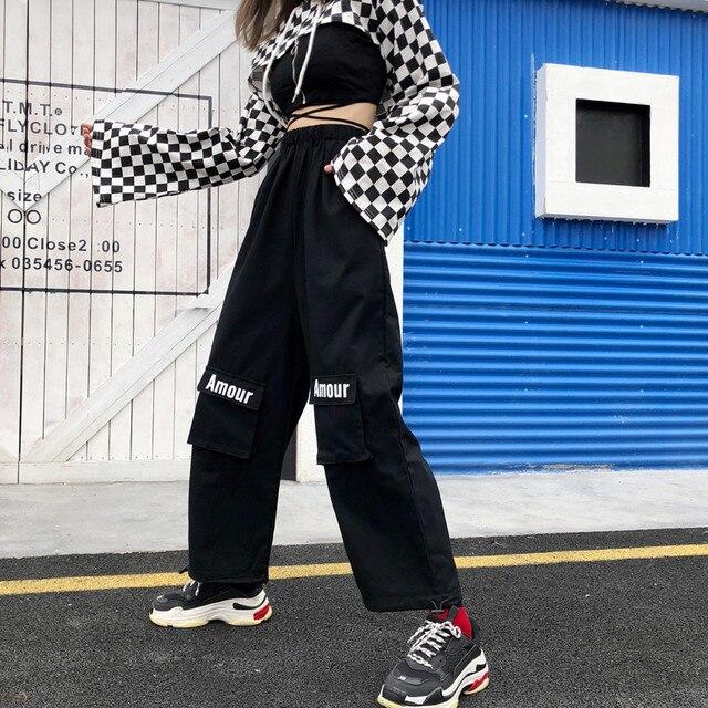 6aff9c0326 ulzzang Korean style Women's Clothing black letter cargo pants loose unisex  autumn fashion brands casual wide leg pants new