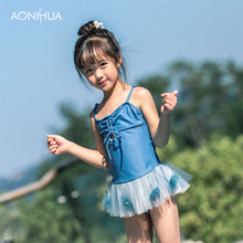 AONIHUA One Piece Swimsuit For Gir Adjustable String Waterproof Travel Swim Batching Suit With Hat 2-12 Years