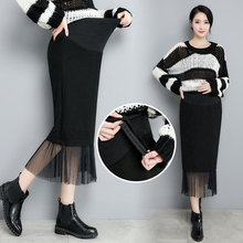 цены Korean Fashion Black Maternity Skirt Knitting Splicing Mesh High Waist Stomach Lift Pregnancy Skirt Casual Clothes for Pregnant