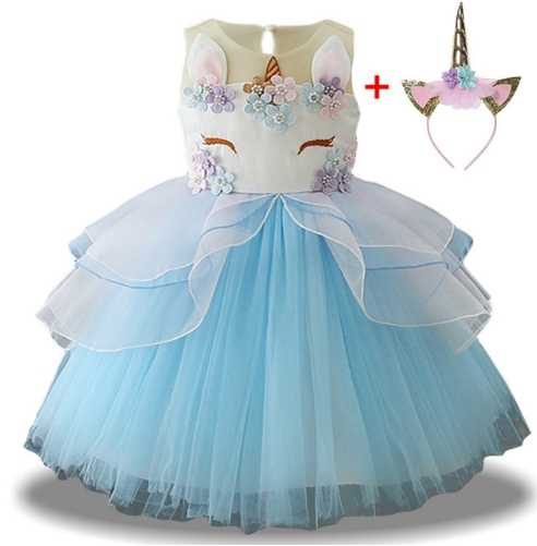 ... Unicorn Party Dress Kids Dresses For Girls Princess Dress Summer  Children Wedding Dress New Year Costume ... d388f90fc56f
