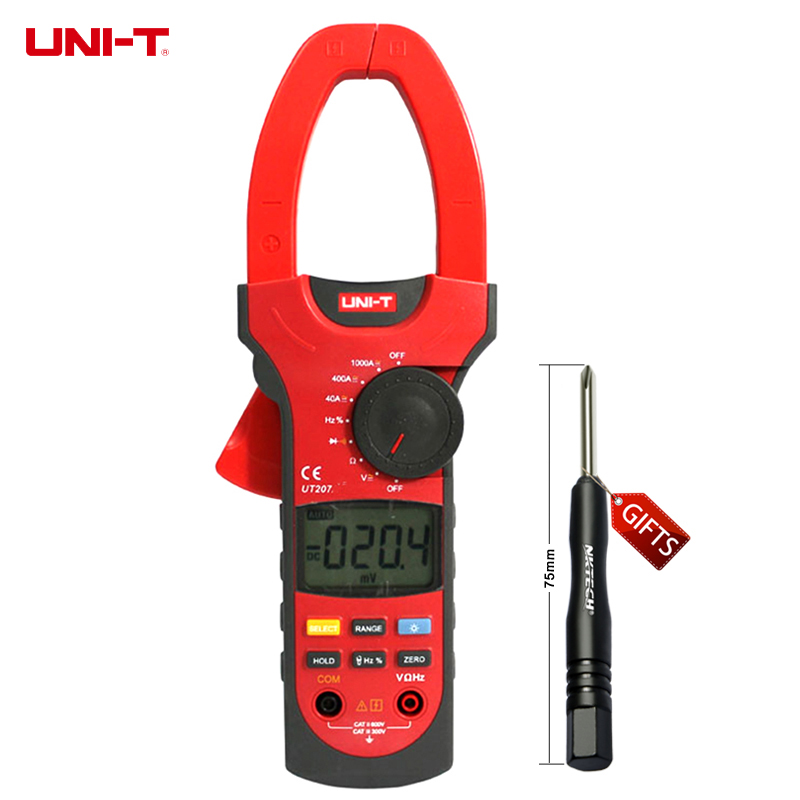 UNI-T UT207 Clamp LCD Digital Multimeter AC DC Volt AC Ampere Ohm Hz Tester  цены