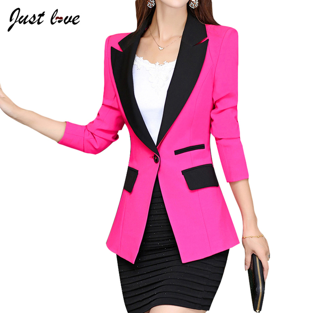 2017 Hot Fashion Korean Elegant One Button Business Suit Blazers OL Slim Patchwork Blazer Jackets Women's Suit