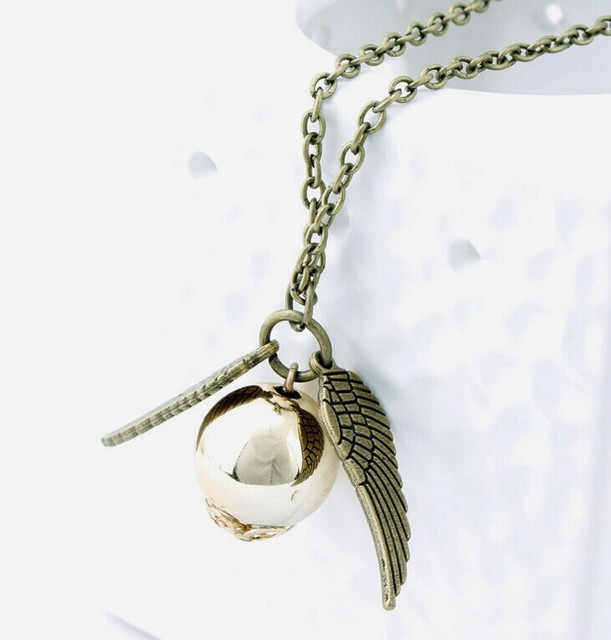 Harry Potter Charms Golden Snitch Angel Pendant Necklace