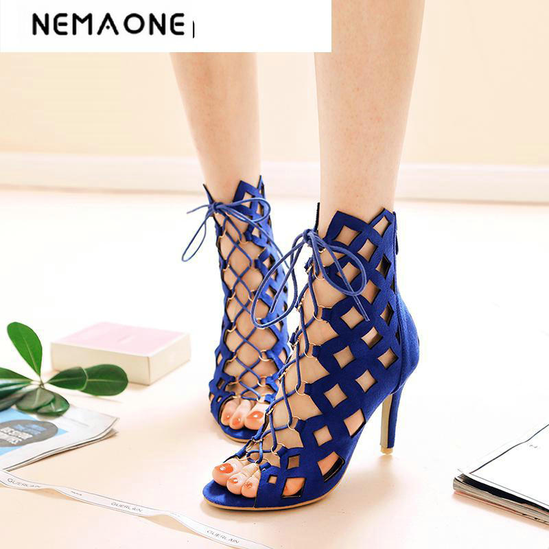 2018 New arrvial free shipping Europe and the United States Suede hollow feet around Women high-heeled sandals free shipping 2018 new europe style