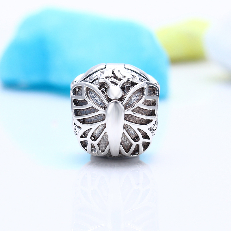 High Quality 100% 925 Sterling Silver Fit Original Pandora Bracelet Lacewing Butterfly Clip Charm Beads for Jewelry Making Gift