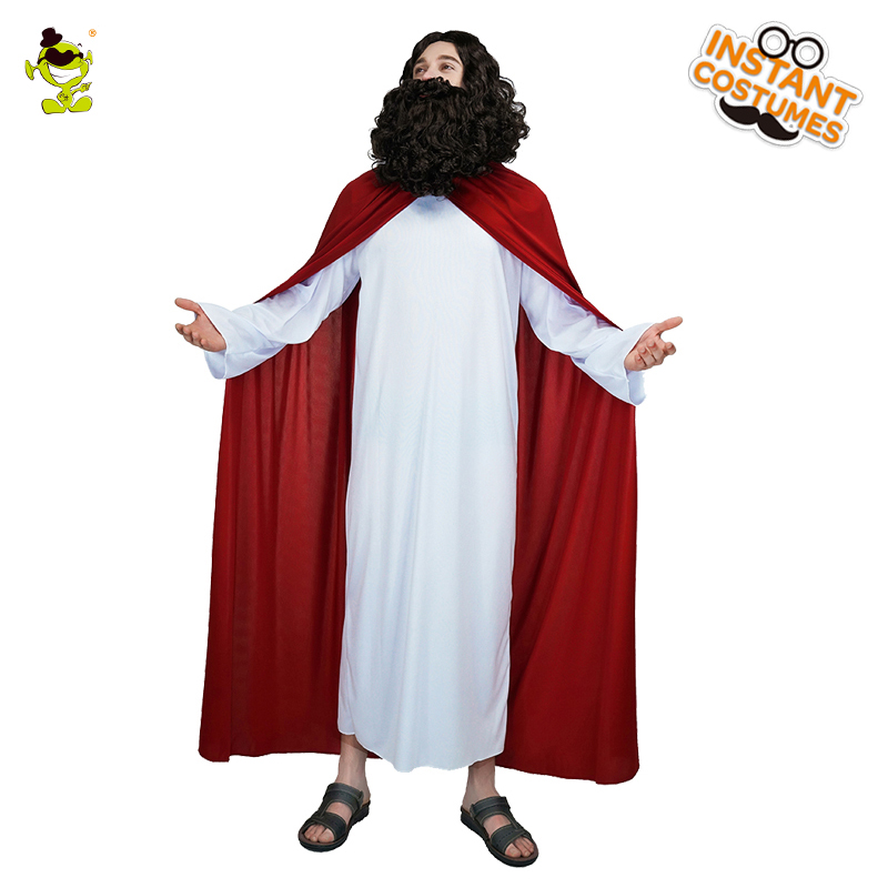 Mens Jesus Costume Carnival Party Cosplay  Religious Costume With Red Cloak  For Party Religious Jesus Role Play Costumes