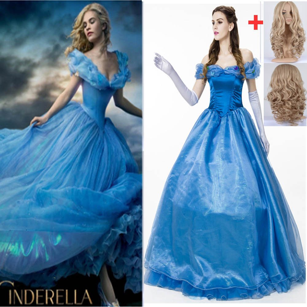 5pcs/set Halloween Costumes For Adult Women Fantasy Cinderella Cosplay Costume Party Princess Dress Cinderella Costume With Wig