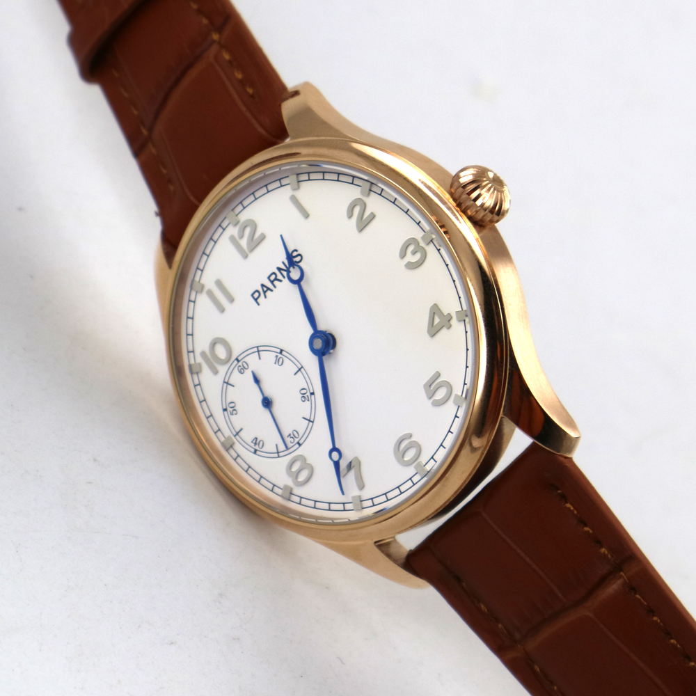 44mm parnis white dial blue hands 6497 hand winding mens wrist watch цена