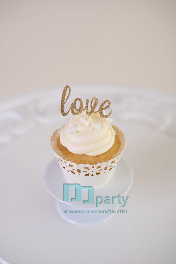 love gold script wedding cake topper handmade letter gold cupcake topper cut out gold 16951