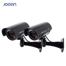 JOOAN 2 PCS กลางแจ้งกล้อง Dummy การเฝ้าระวังไร้สาย LED light กล้องปลอมกล้องวงจรปิดความปลอดภัยกล้องจำลองการเฝ้าระวัง