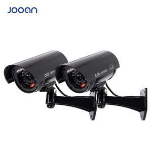 Image 1 - JOOAN 2 sztuk na zewnątrz atrapa kamery nadzoru bezprzewodowe LED light fałszywa kamera domu kamery bezpieczeństwa CCTV symulowane nadzoru