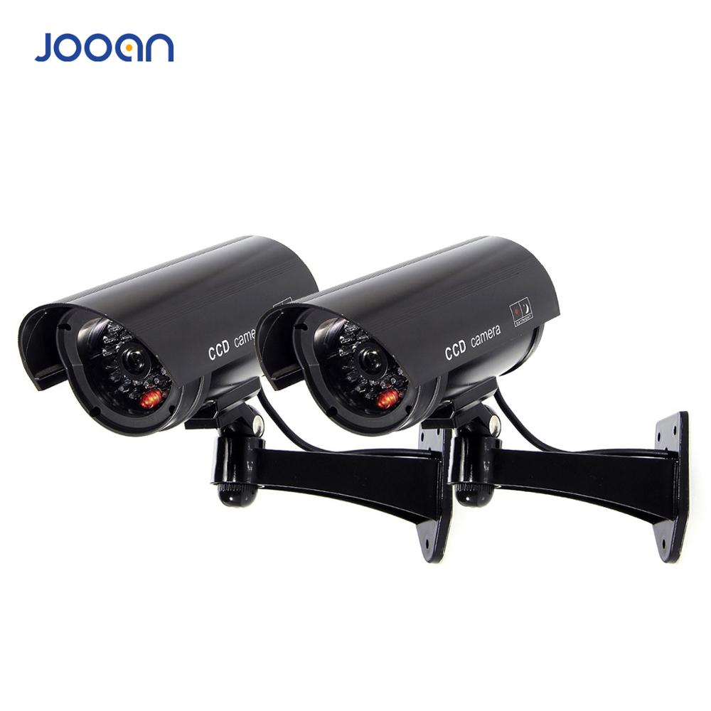 JOOAN 2PCS Outdoor Dummy Camera Surveillance  Wireless LED Light Fake Camera Home CCTV Security Camera Simulated  Surveillance