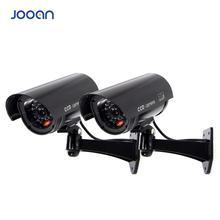 JOOAN 2PCS Outdoor Dummy Camera Surveillance  Wireless LED light Fake Camera Home CCTV Security Camera Simulated  Surveillance