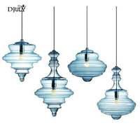 nordic Shaped gourd stained glass pendant lights for living room dining room kitchen led hang lamp loft decor lighting fixtures