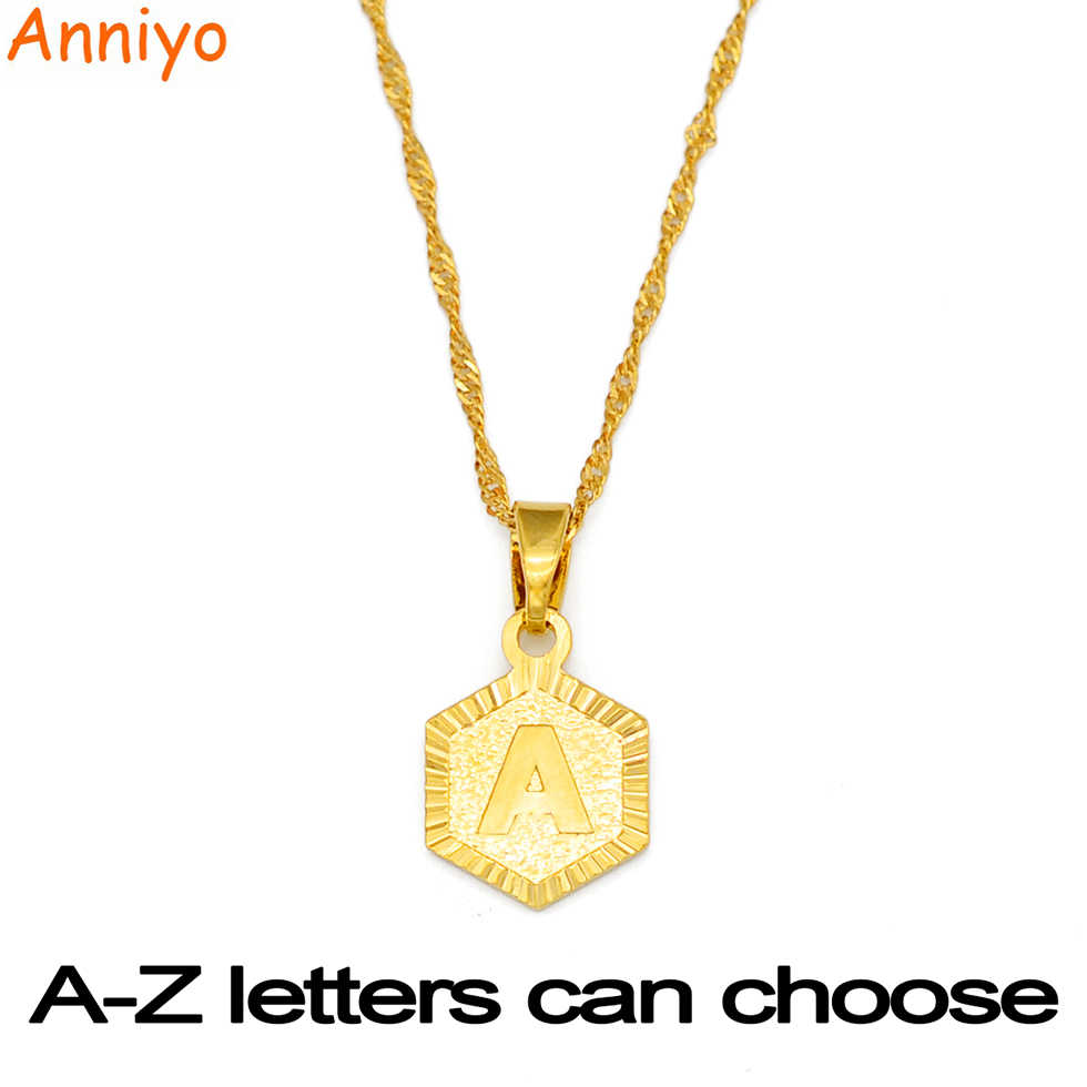 Anniyo A-Z Letters Gold Color Charm Pendant Necklaces for Women Girls English Initial Alphabet Chain Jewelry Best Gifts #114006
