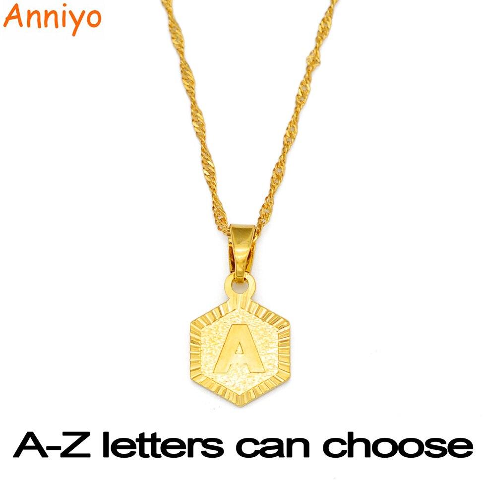 Anniyo A-Z буквы подвеска золотого цвета кулон ожерелья для Для женщин девочек английский начальный Алфавит Сеть ювелирных лучшие подарки #114006