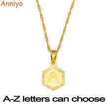 528c93953cae Anniyo A-Z cartas de Color oro encanto colgante collares para las mujeres  las niñas inglés alfabeto inicial joyería de la cadena.