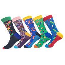 PEONFLY Happy Funny Men s Socks High Quality Combed Cotton Long Colored Dress Socks Novelty Tube