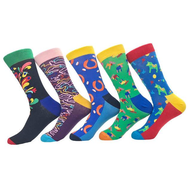 PEONFLY Happy Funny Men's Socks High Quality Combed Cotton Long Colored Dress Socks Novelty Tube Skateboard Wedding Socks Cool