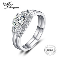 JewelryPalace Engagement 1 4ct Cubic Zirconia 3 Stone Wedding Bridal Ring Set 925 Sterling Silver New
