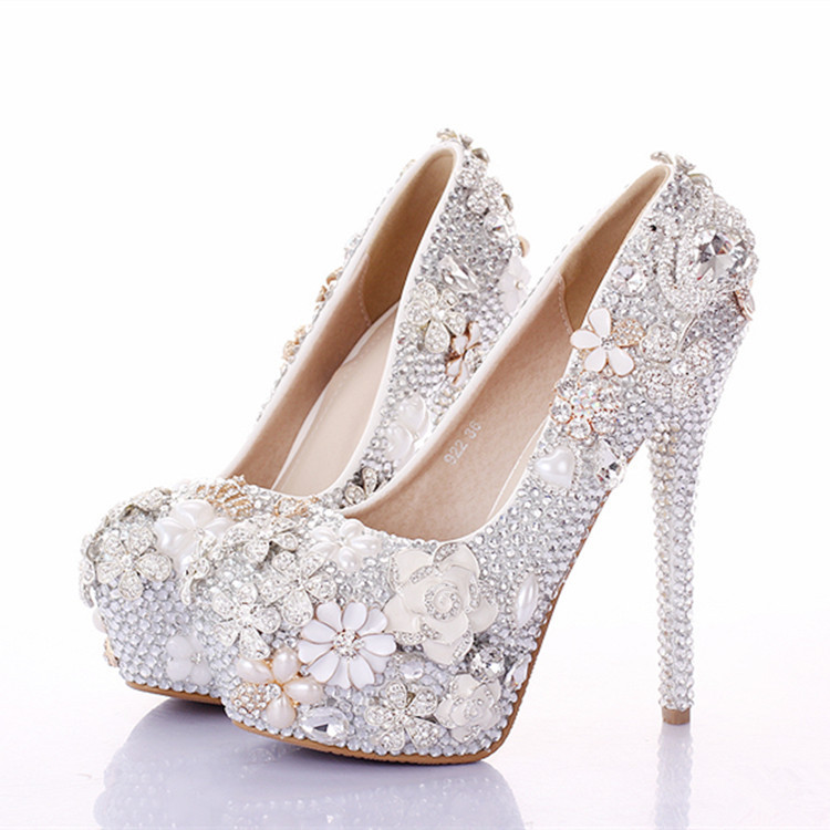 Aliexpress.com : Buy Rhinestone Flower silver Wedding Shoes high ...