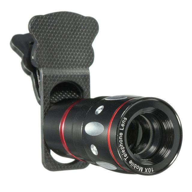 10X Zoom Universal 4 en 1 Lente Óptico Teléfono Pinza Negro para cámara iphone 7 for samsung móvil telescopio gran angular macro lente