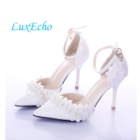 8fc66251 ... buty ślubne dla panny młodej 9 cm wysokie obcasy szpiczasty nosek z  anckle pasek gniazdo łuk sandały. Summer New Pure White Pearl Bride Wedding  Shoes ...